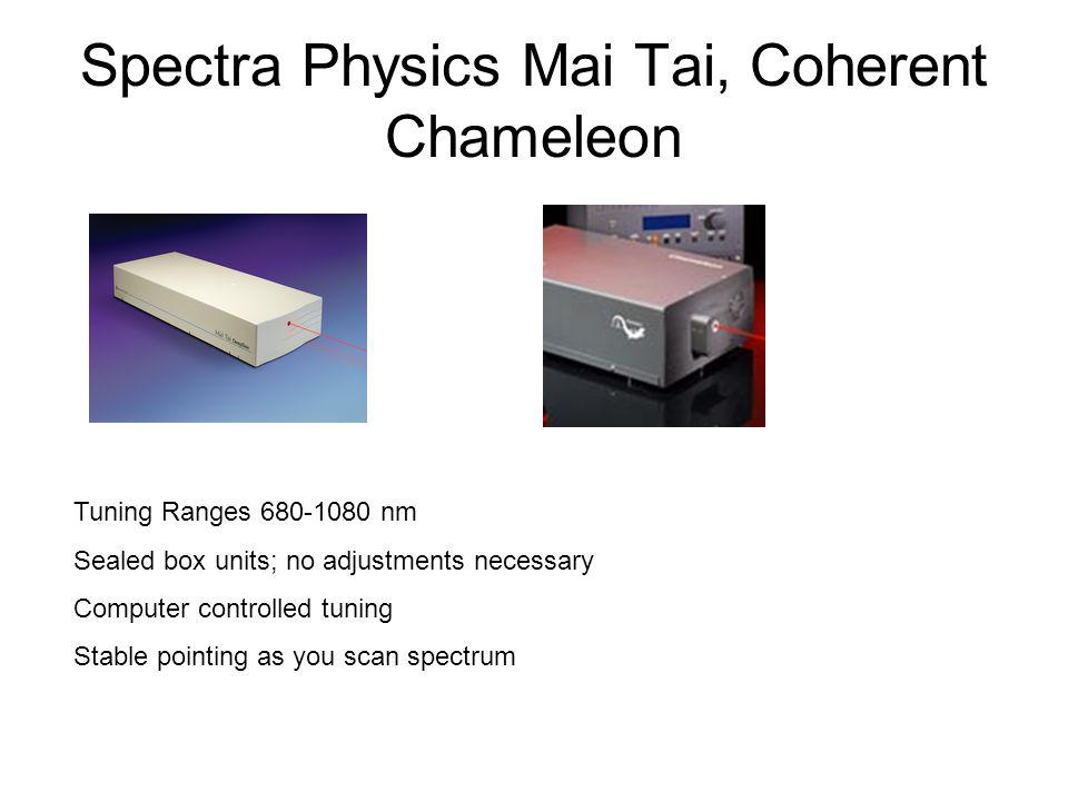 Spectra Physics Mai Tai, Coherent Chameleon Tuning Ranges 680-1080 nm Sealed box units; no adjustments necessary Computer controlled tuning Stable pointing as you scan spectrum