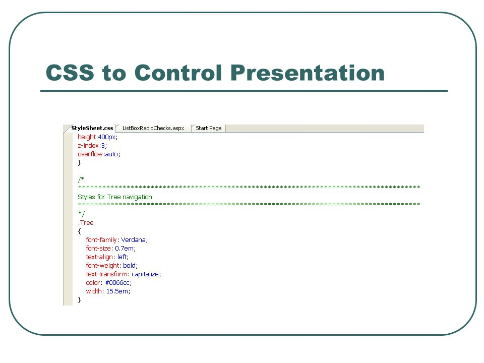 CSS to Control Presentation