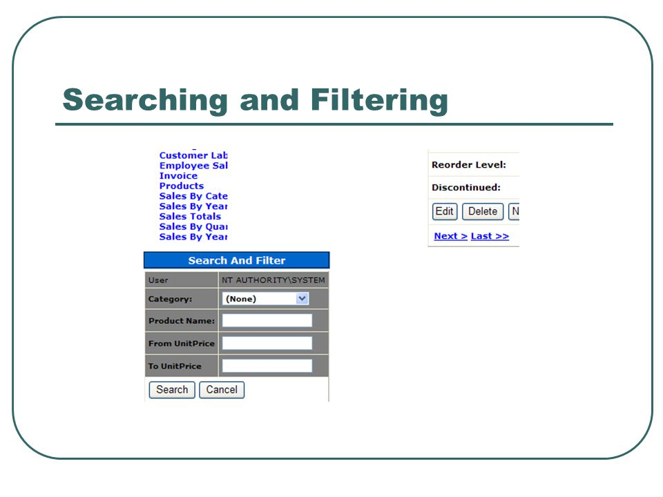 Searching and Filtering