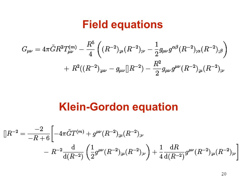 20 Field equations Klein-Gordon equation