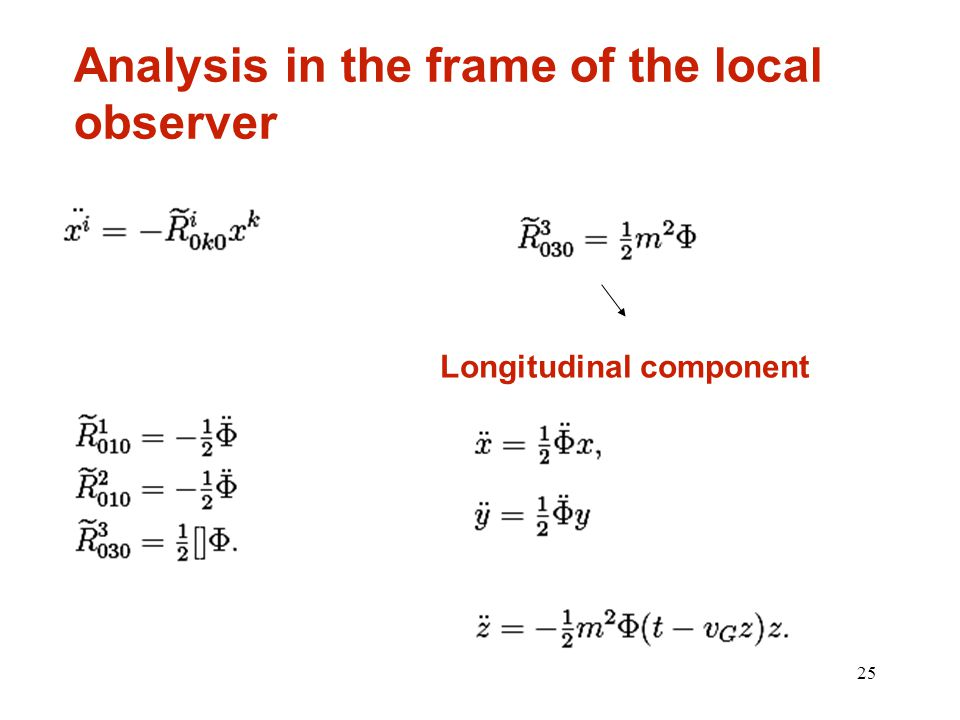 25 Analysis in the frame of the local observer Longitudinal component