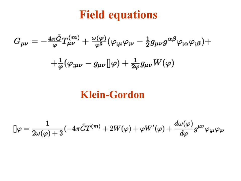 Field equations Klein-Gordon