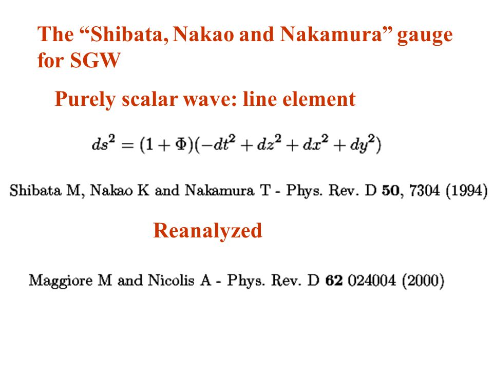 The Shibata, Nakao and Nakamura gauge for SGW Purely scalar wave: line element Reanalyzed