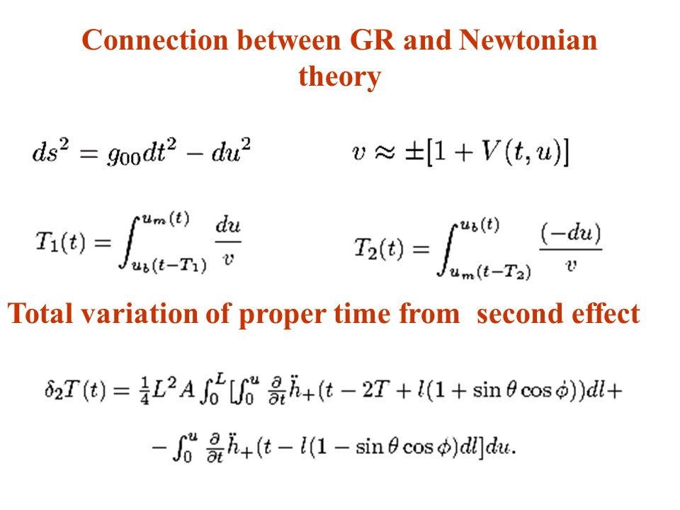 Connection between GR and Newtonian theory Total variation of proper time from second effect