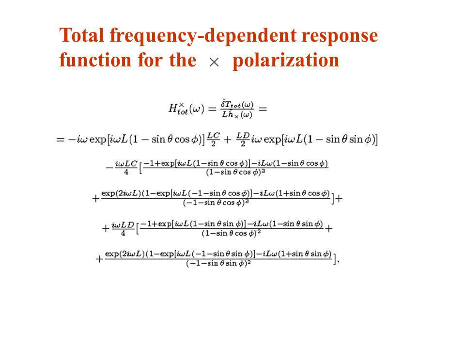Total frequency-dependent response function for the polarization