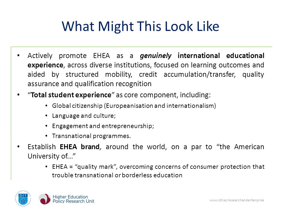 What Might This Look Like Actively promote EHEA as a genuinely international educational experience, across diverse institutions, focused on learning outcomes and aided by structured mobility, credit accumulation/transfer, quality assurance and qualification recognition Total student experience as core component, including: Global citizenship (Europeanisation and internationalism) Language and culture; Engagement and entrepreneurship; Transnational programmes.