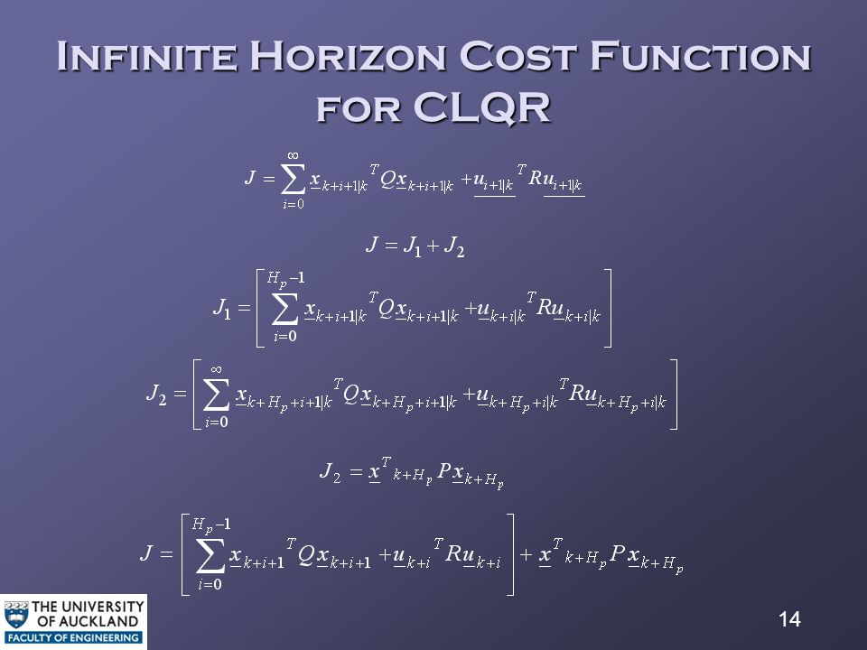 14 Infinite Horizon Cost Function for CLQR