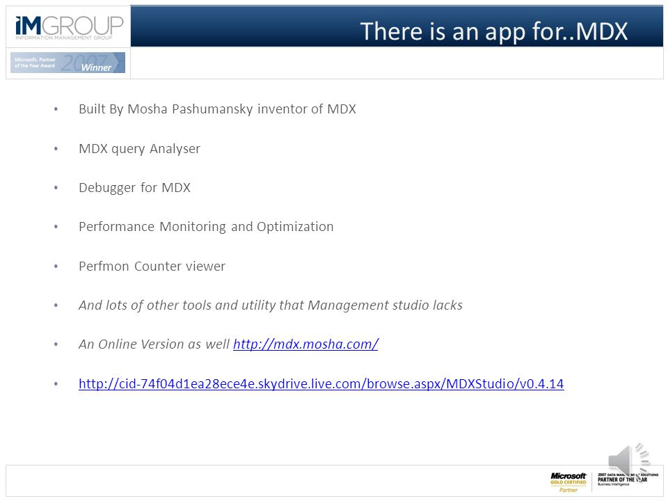Agenda 1. What is MDX Studio 2. Why and How to use MDX Studio 1.