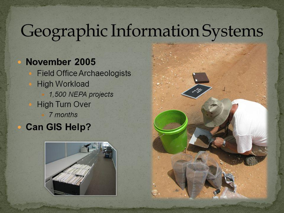 November 2005 Field Office Archaeologists High Workload 1,500 NEPA projects High Turn Over 7 months Can GIS Help