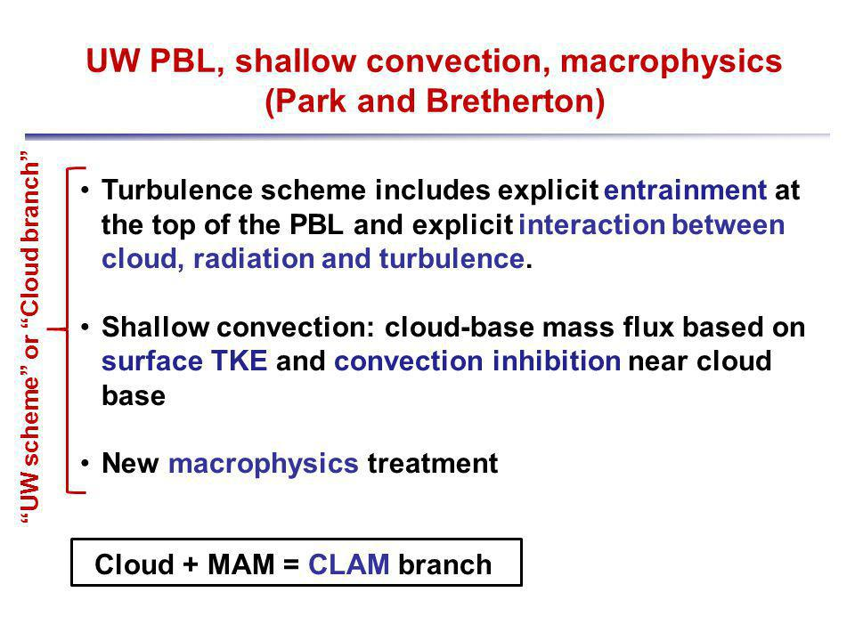 UW PBL, shallow convection, macrophysics (Park and Bretherton) Turbulence scheme includes explicit entrainment at the top of the PBL and explicit interaction between cloud, radiation and turbulence.