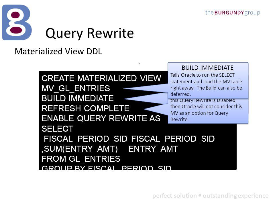 perfect solution outstanding experience Query Rewrite Materialized View DDL CREATE MATERIALIZED VIEW MV_GL_ENTRIES BUILD IMMEDIATE REFRESH COMPLETE ENABLE QUERY REWRITE AS SELECT FISCAL_PERIOD_SID FISCAL_PERIOD_SID,SUM(ENTRY_AMT) ENTRY_AMT FROM GL_ENTRIES GROUP BY FISCAL_PERIOD_SID REFRESH COMPLETE Tells Oracle that when this MV is refreshed all data will first be removed and then a complete reload will occur.