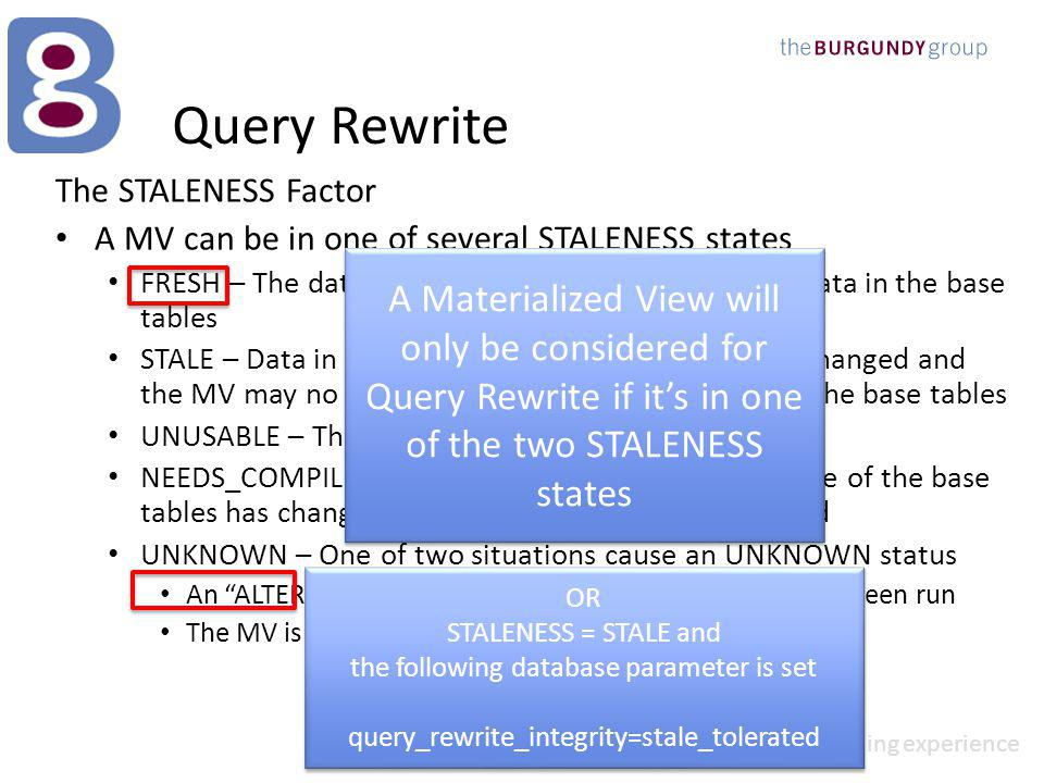 perfect solution outstanding experience Query Rewrite The STALENESS Factor A MV can be in one of several STALENESS states FRESH – The data in the MV accurately reflects the data in the base tables STALE – Data in one or more of the base tables has changed and the MV may no longer accurately reflect the data in the base tables UNUSABLE – The MV is currently being refreshed NEEDS_COMPILE – The table structure of one or more of the base tables has changed and the MV needs to be compiled UNKNOWN – One of two situations cause an UNKNOWN status An ALTER MATERIALIZED VIEW….CONSIDER FRESH has been run The MV is based on a PREBUILT TABLE (Advanced Topic) A Materialized View will only be considered for Query Rewrite if its in one of the two STALENESS states OR STALENESS = STALE and the following database parameter is set query_rewrite_integrity=stale_tolerated OR STALENESS = STALE and the following database parameter is set query_rewrite_integrity=stale_tolerated