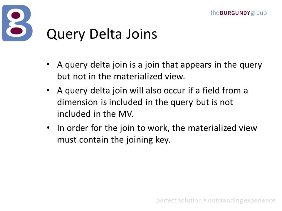 perfect solution outstanding experience Query Delta Joins A query delta join is a join that appears in the query but not in the materialized view.