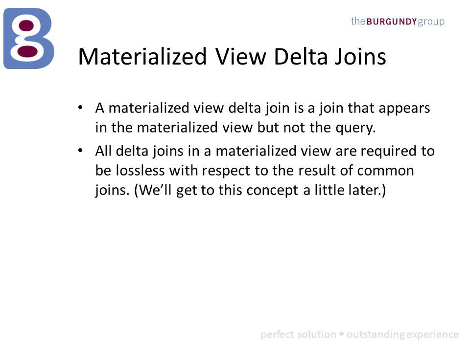perfect solution outstanding experience Materialized View Delta Joins A materialized view delta join is a join that appears in the materialized view but not the query.