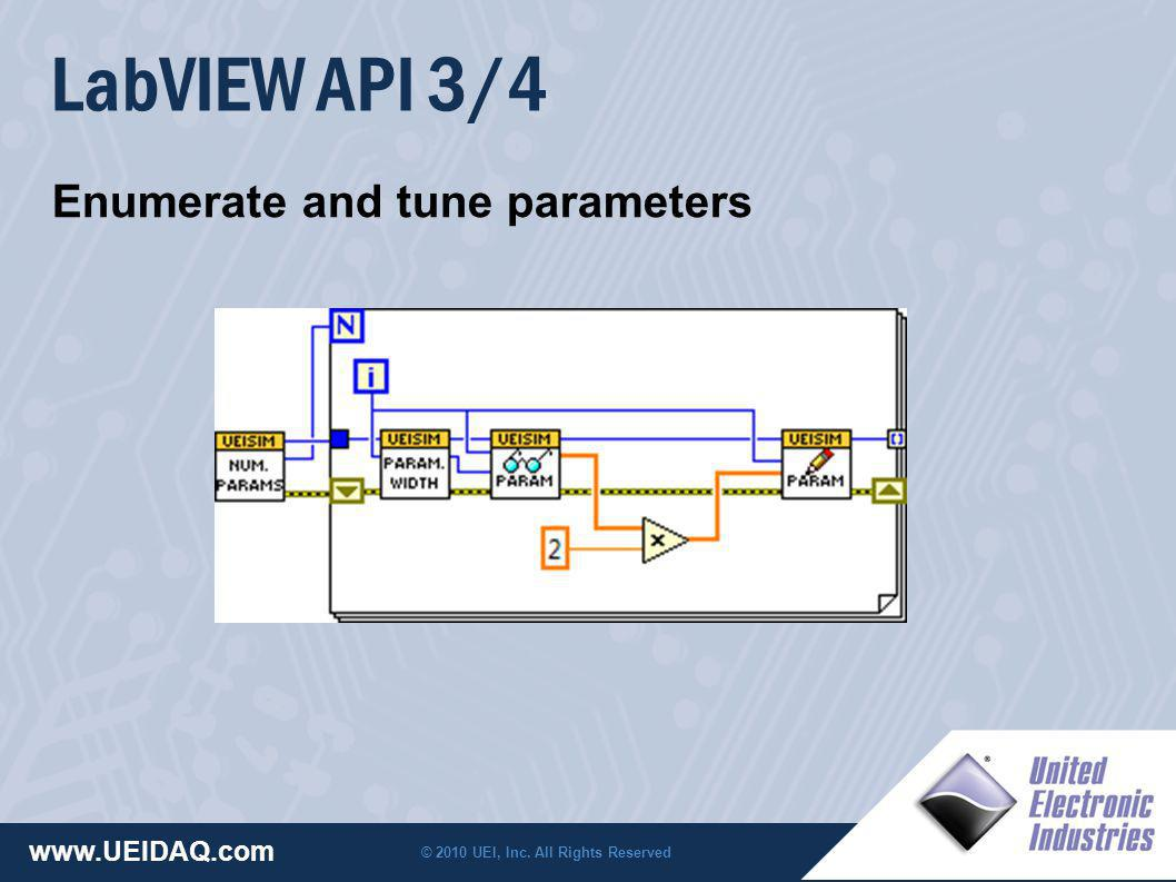 © 2010 UEI, Inc. All Rights Reserved www.UEIDAQ.com LabVIEW API 3/4 Enumerate and tune parameters