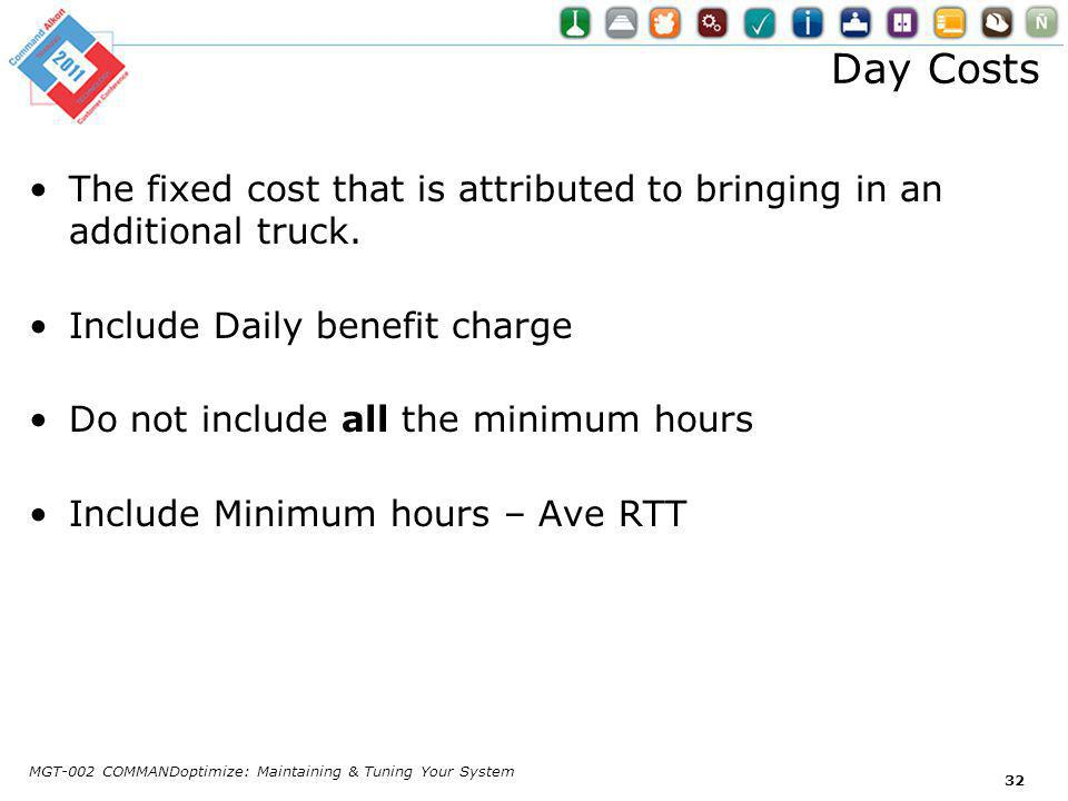 Day Costs The fixed cost that is attributed to bringing in an additional truck.