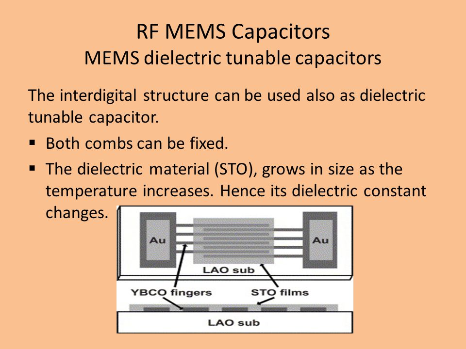 RF MEMS Capacitors MEMS dielectric tunable capacitors The interdigital structure can be used also as dielectric tunable capacitor.