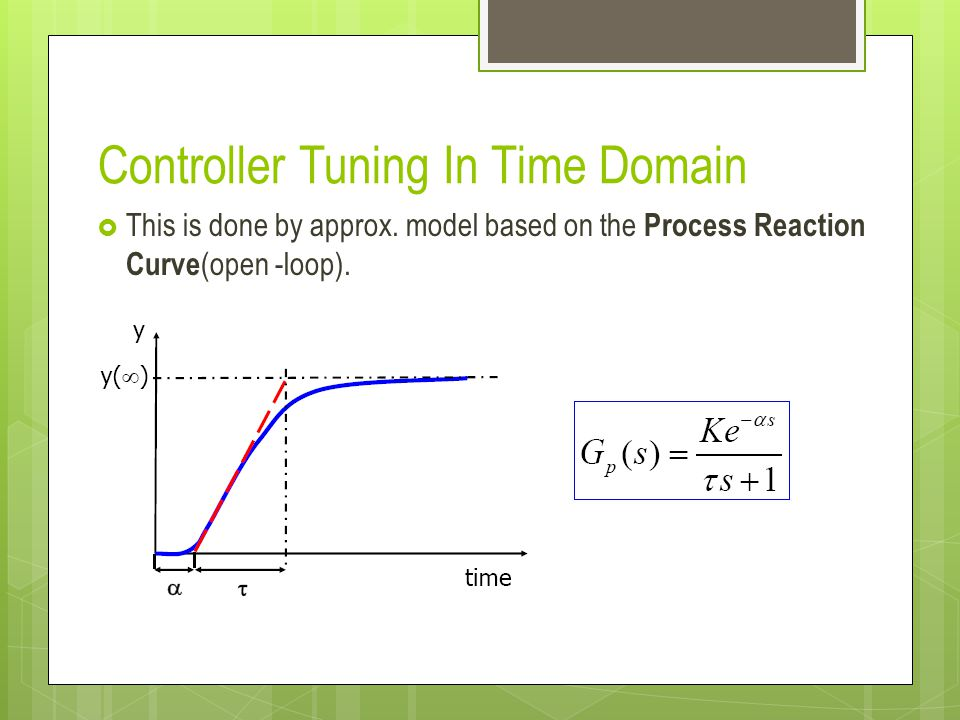 Controller Tuning In Time Domain This is done by approx.