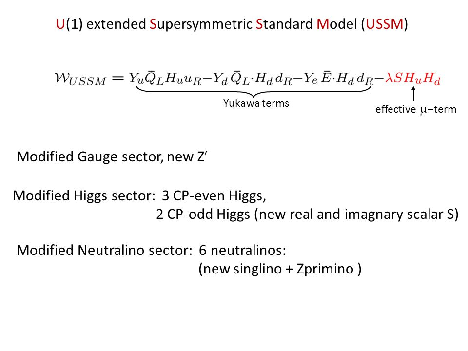 U(1) extended Supersymmetric Standard Model (USSM) Yukawa terms effective term Modified Higgs sector: 3 CP-even Higgs, 2 CP-odd Higgs (new real and imagnary scalar S) Modified Neutralino sector: 6 neutralinos: (new singlino + Zprimino ) Modified Gauge sector, new Z 0