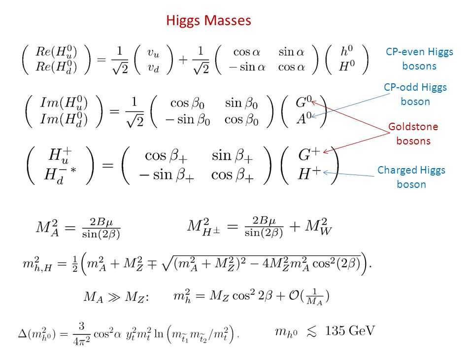 Higgs Masses Goldstone bosons CP-even Higgs bosons Charged Higgs boson CP-odd Higgs boson