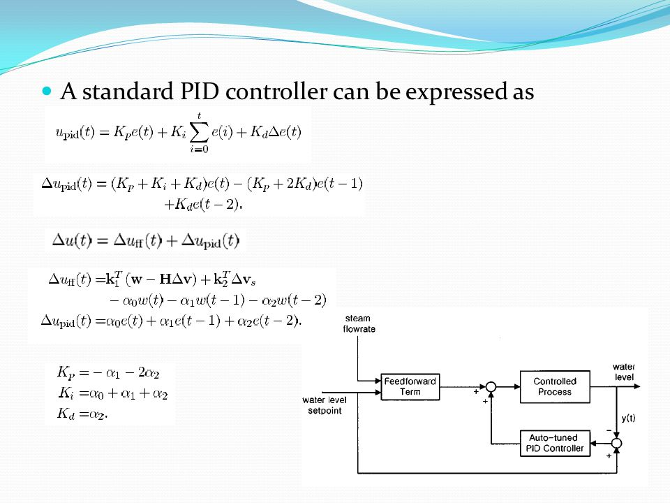 A standard PID controller can be expressed as