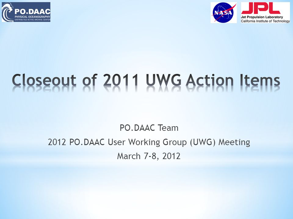 PO.DAAC Team 2012 PO.DAAC User Working Group (UWG) Meeting March 7-8, 2012