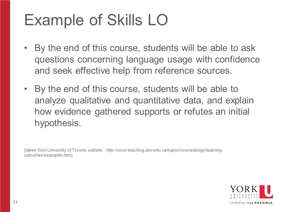 11 Example of Skills LO By the end of this course, students will be able to ask questions concerning language usage with confidence and seek effective help from reference sources.