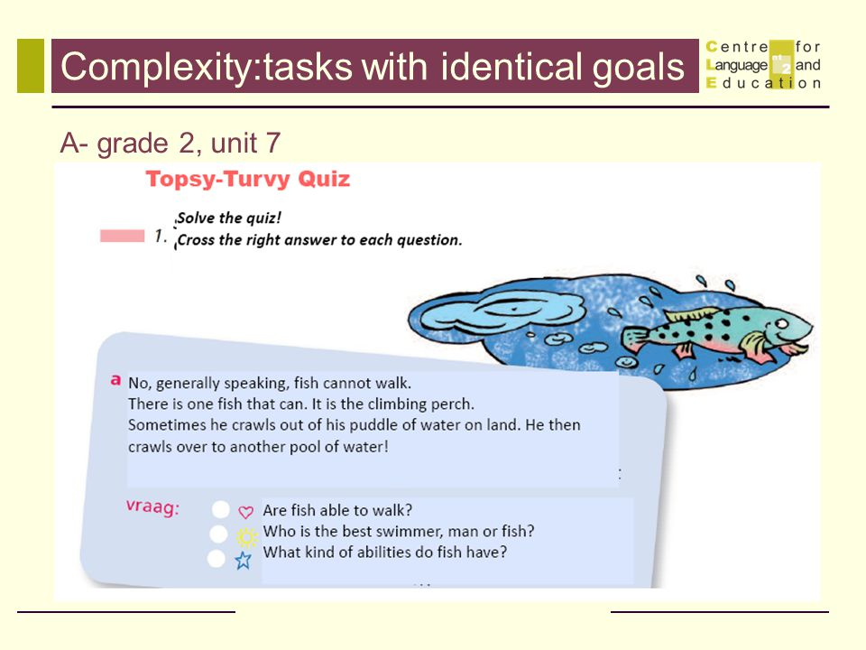 Complexity:tasks with identical goals A- grade 2, unit 7