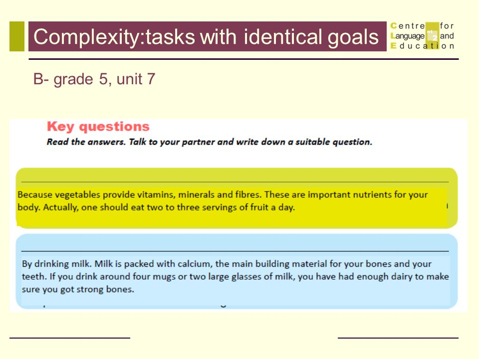 Complexity:tasks with identical goals B- grade 5, unit 7