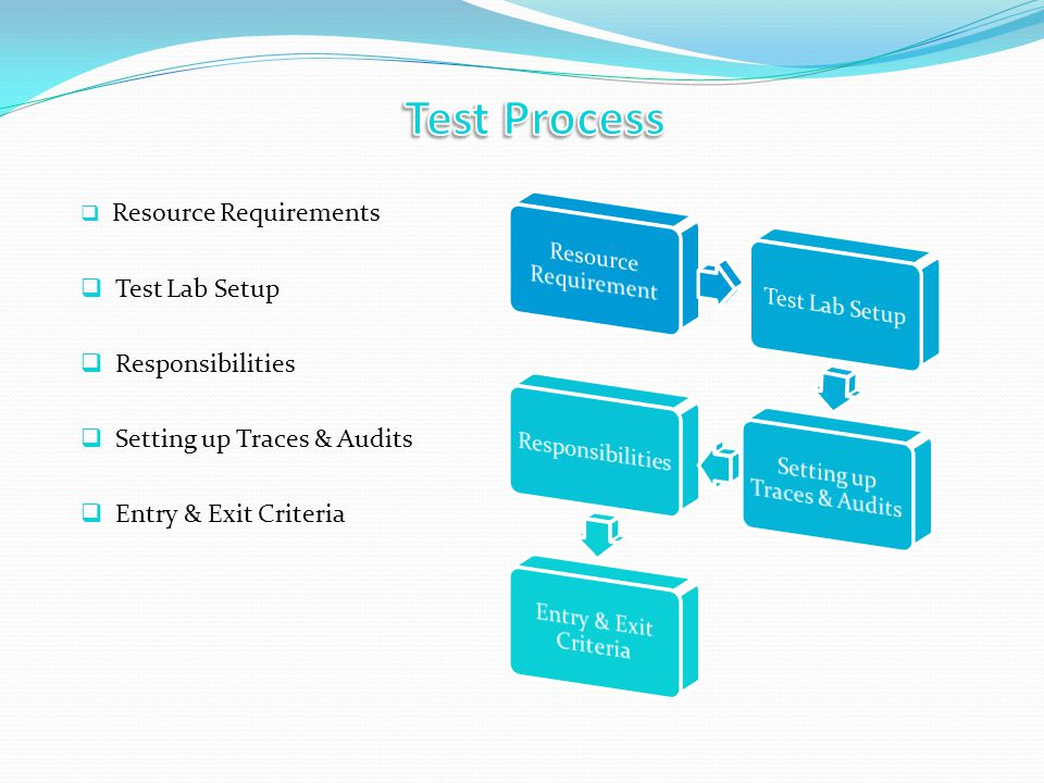 Resource Requirements Test Lab Setup Responsibilities Setting up Traces & Audits Entry & Exit Criteria