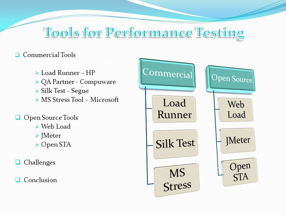 Commercial Tools Load Runner – HP QA Partner - Compuware Silk Test - Segue MS Stress Tool – Microsoft Open Source Tools Web Load JMeter Open STA Challenges Conclusion
