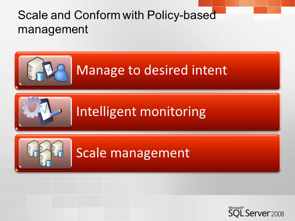 Scale and Conform with Policy-based management Manage to desired intent Intelligent monitoring Scale management