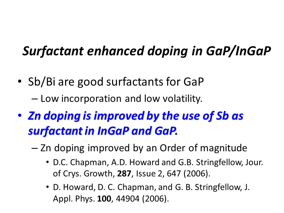Surfactant enhanced doping in GaP/InGaP Sb/Bi are good surfactants for GaP – Low incorporation and low volatility.
