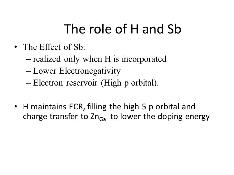 The role of H and Sb The Effect of Sb: – realized only when H is incorporated – Lower Electronegativity – Electron reservoir (High p orbital).
