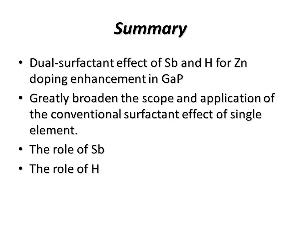 Summary Dual-surfactant effect of Sb and H for Zn doping enhancement in GaP Dual-surfactant effect of Sb and H for Zn doping enhancement in GaP Greatly broaden the scope and application of the conventional surfactant effect of single element.