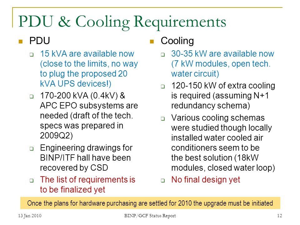 PDU & Cooling Requirements PDU 15 kVA are available now (close to the limits, no way to plug the proposed 20 kVA UPS devices!) 170-200 kVA (0.4kV) & APC EPO subsystems are needed (draft of the tech.