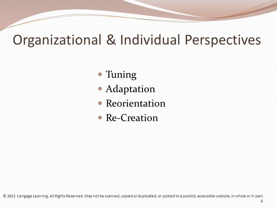 Organizational & Individual Perspectives Tuning Adaptation Reorientation Re-Creation © 2013 Cengage Learning.