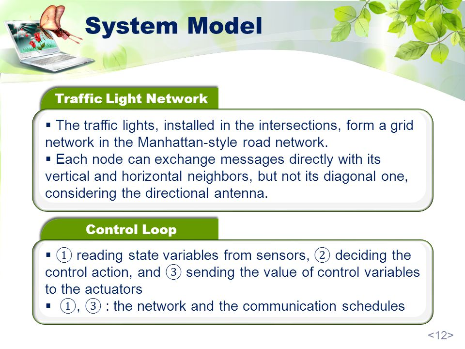 System Model Traffic Light Network The traffic lights, installed in the intersections, form a grid network in the Manhattan-style road network.