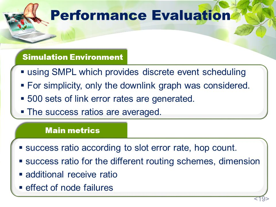 Performance Evaluation Simulation Environment using SMPL which provides discrete event scheduling For simplicity, only the downlink graph was considered.