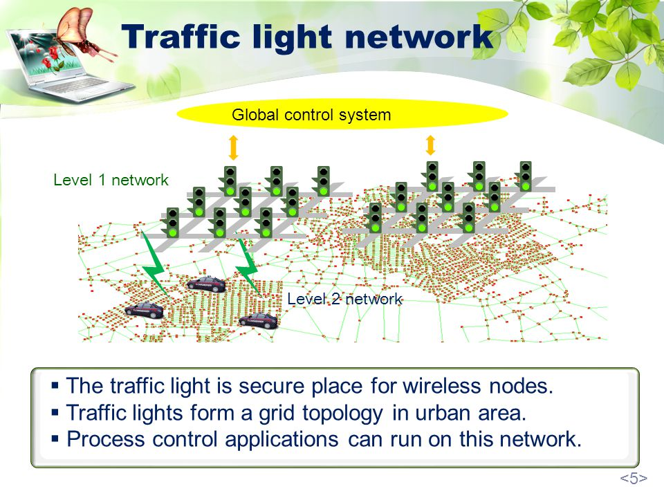 Traffic light network The traffic light is secure place for wireless nodes.