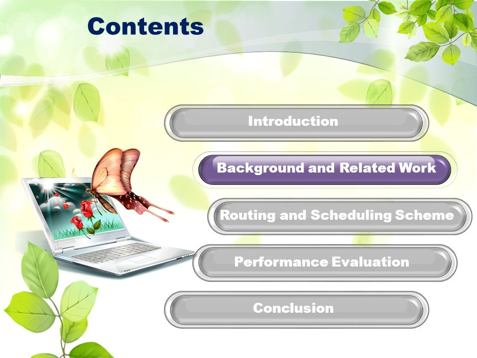 Performance Evaluation Routing and Scheduling Scheme Conclusion Introduction Background and Related Work Contents