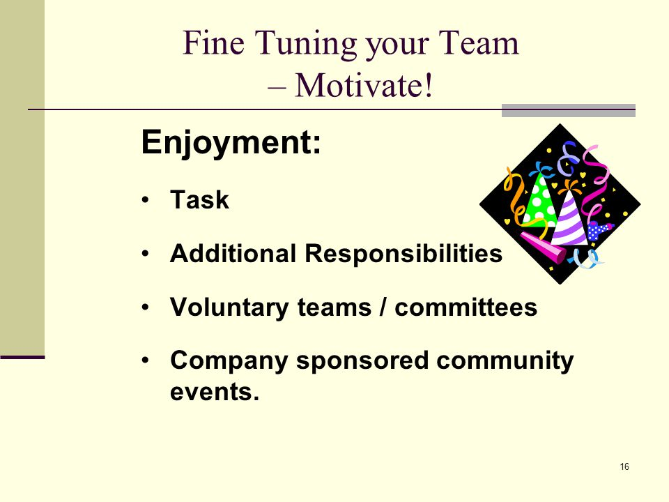 16 Fine Tuning your Team – Motivate.