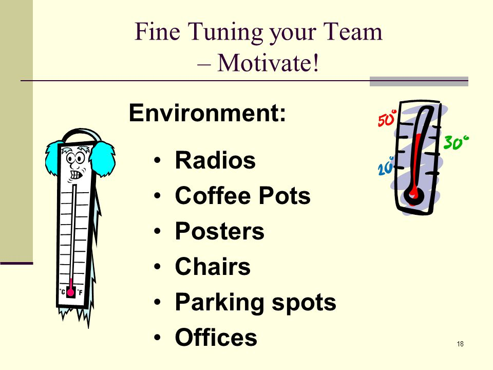 18 Fine Tuning your Team – Motivate.