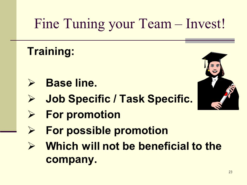 23 Fine Tuning your Team – Invest. Training: Base line.