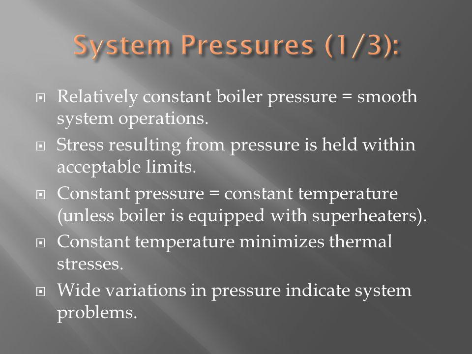 Relatively constant boiler pressure = smooth system operations.