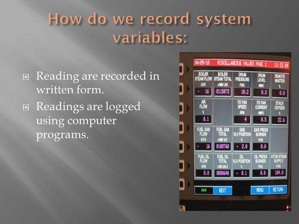 Reading are recorded in written form. Readings are logged using computer programs.