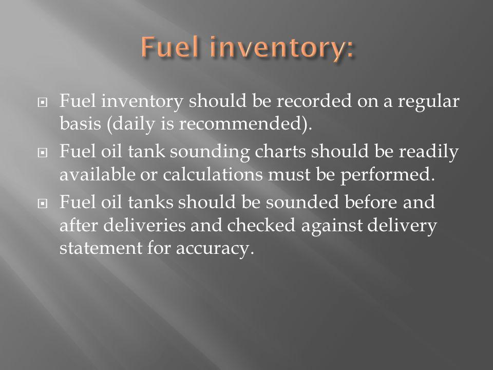 Fuel inventory should be recorded on a regular basis (daily is recommended).