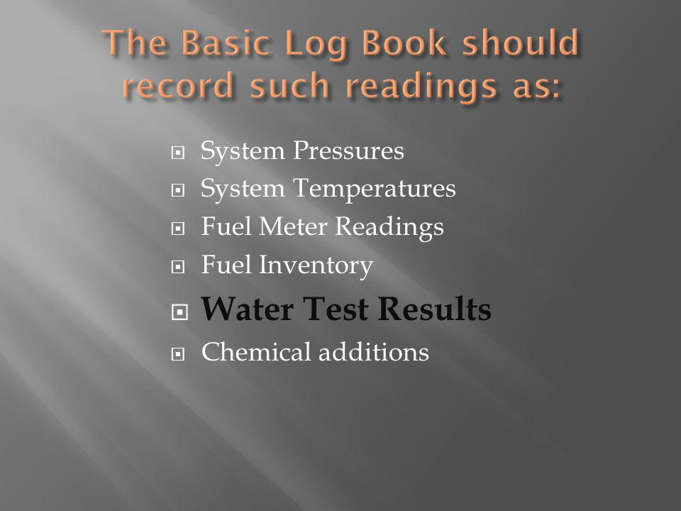 System Pressures System Temperatures Fuel Meter Readings Fuel Inventory Water Test Results Chemical additions