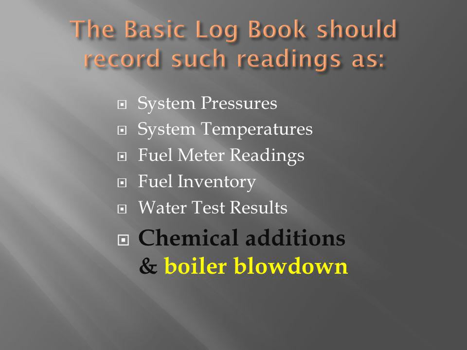 System Pressures System Temperatures Fuel Meter Readings Fuel Inventory Water Test Results Chemical additions & boiler blowdown