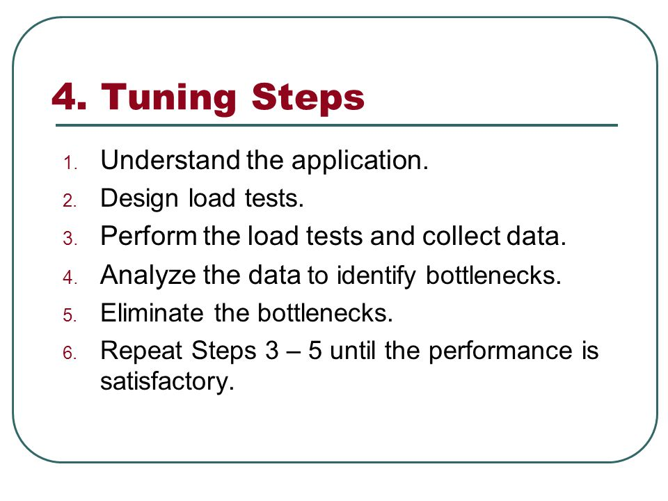 4. Tuning Steps 1. Understand the application. 2.